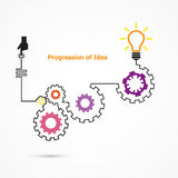 Creative light bulb symbol with linear of gear shape. Progression of idea concept. Business, education and industrial idea. Vector illustration vector illustration