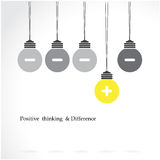 Creative light bulb symbol with positive thinking and difference. Concept, business idea. Vector illustration Royalty Free Stock Image