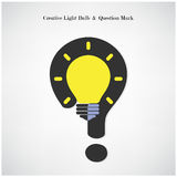 Creative light bulb symbol and question mark sign on background. Vector illustration Royalty Free Stock Photography