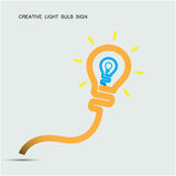 Creative light bulb symbol with turn on creativity concept, educ Stock Image