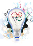 creative light bulb with working gear Royalty Free Stock Photography