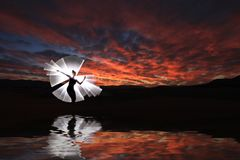Creative Light Painting With Color Tube Lighting With Landscapes. Light Painting With Color Tube Lighting With Landscapes royalty free stock images