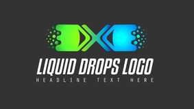 Creative Liquid Drops Logo design for brand identity. Company profile or corporate logos with clean elegant and modern style Royalty Free Stock Images