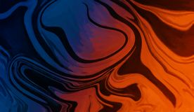 Blue orange marble liquid background wallpaper.Digital oil artwork for graphic design. stock illustration