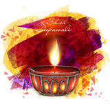 Creative lit lamp for Happy Deepawali. Creative illuminated lit lamp on abstract floral design decorated background for Indian Festival of Lights, Happy stock illustration