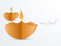 Creative lit lamps for Happy Diwali celebration. Stock Images