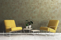 Creative living room with empty wall. Creative living room interior with armchair, table with green and empty concrete wall. Mock up, 3D Rendering Royalty Free Stock Photos