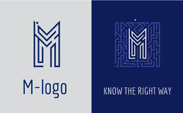 Creative logo for corporate identity of company: letter M. The logo symbolizes labyrinth, choice of right path, solutions. Suitable for consulting, financial Royalty Free Stock Photography