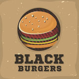Creative logo design with burger. Vector illustration. Royalty Free Stock Photography