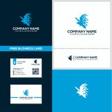 Geometric eagle logo and business card design concept template vector illustration