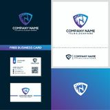 Shield and horse logo design concept stock illustration