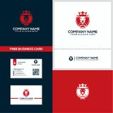 The king lion logo and business card design concept royalty free illustration