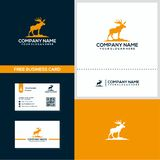Moose logo and business card design concept stock illustration