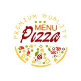 Flat pizza house logo creative design element with pizza slice. Emblem for cafe menu, food delivery company. Vector. Creative logo design for pizzeria menu with Stock Photos