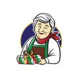 Creative logo mascot using grandmother icon vector illustration