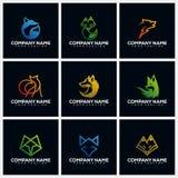Fox Pack Creative Logo Design Concept Vector Template royalty free illustration