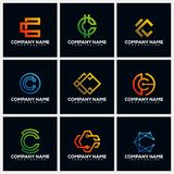 Letter C Pack Creative Logo Design Concept Vector Template royalty free illustration