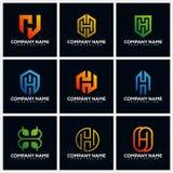 Letter H Pack Creative Logo Design Concept Vector Template stock illustration