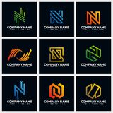Letter N Pack Creative Logo Design Concept Vector Template royalty free illustration