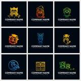 Owl Pack Creative Logo Design Concept Vector Template stock illustration