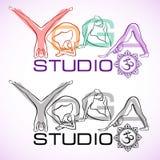 Creative logo of yoga studio with womens silhouettes. Stock Photos