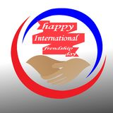 Creative logos congratulate the friendship of the world, for your best friend royalty free illustration