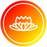 A creative lotus flower circular in hot gradient spectrum. An original creative lotus flower circular in hot gradient spectrum vector illustration