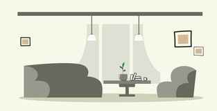 Creative lounge area with couch and armchair empty no people modern office interior sketch doodle horizontal. Vector illustration vector illustration