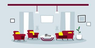 Creative lounge area with couch and armchair empty no people modern office or living room interior sketch doodle. Horizontal vector illustration vector illustration