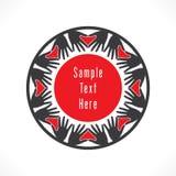 Creative love label design. Creative hand arrange in round shape and make heart shape design concept Stock Images