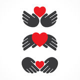 Creative love label design. Creative shape design with using hand and heart shape concept Stock Images