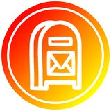 A creative mail box circular in hot gradient spectrum stock illustration