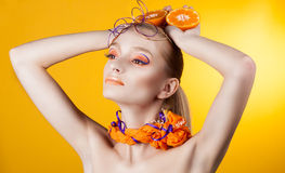 Creative make-up and hairstyle. Portrait of young girl Stock Photos