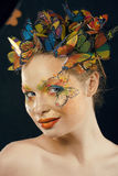 Creative make up like butterfly Stock Image