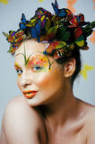 Creative make up like butterfly Stock Photography