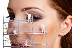 Creative make up painters. Make up painters. macro shoot Stock Images