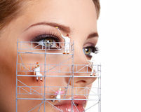 Creative make up painters. Make up painters. Miniatures shoot Royalty Free Stock Images