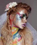 Creative make up with splashes of color. Body ert Royalty Free Stock Photos