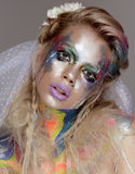 Creative make up with splashes of color. Body ert Royalty Free Stock Images