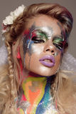 Creative make up with splashes of color. Body ert Royalty Free Stock Photography