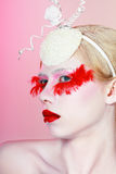 Creative Makeup False red eyelashes Royalty Free Stock Photography
