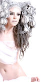 Creative makeup and hair on a fashion girl Royalty Free Stock Image