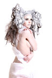 Creative makeup and hair on a fashion girl Royalty Free Stock Photography