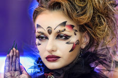Creative makeup show at the festival of beauty Royalty Free Stock Image