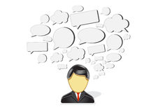 Creative man. Abstract process of creativity. Man with thoughts inside his head Vector Illustration