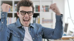 Creative Man Celebrating Success of Business stock footage