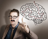 Creative man thinking up brain illustration idea Stock Photography