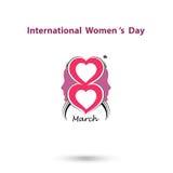 Creative 8 March logo vector design with international women`s d Stock Photos