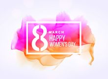 Creative march 8 woman`s day background with watercolor effect. Vector Royalty Free Stock Photo