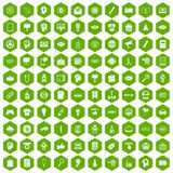 100 creative marketing icons hexagon green. 100 creative marketing icons set in green hexagon isolated vector illustration Royalty Free Stock Photos